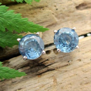 Montana Sapphire Earrings In Palladium – Blue Sapphire Fair Trade Gemstone Studs – Free Gift Wrapping