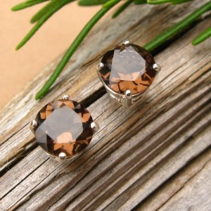 Smoky Quartz Studs – Genuine Smoky Quartz Stud Earrings In Real 14k Gold, Sterling Silver, Or Platinum – 3mm, 4mm, 6mm, 8mm