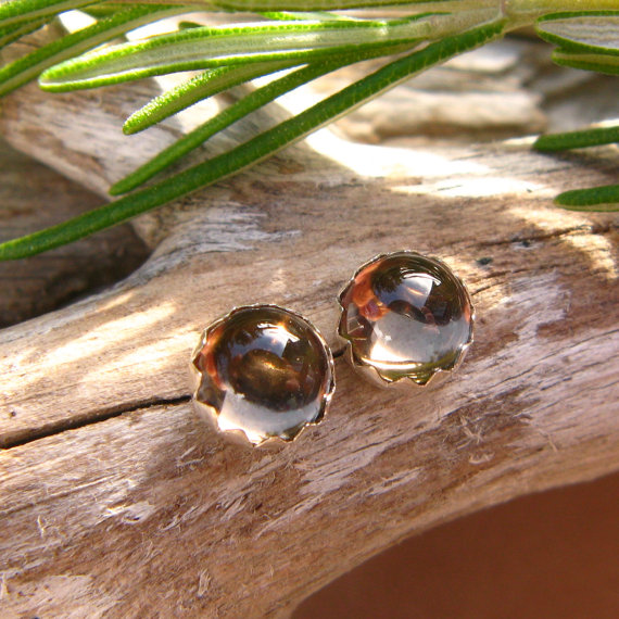 Smoky Quartz Cabochon Studs, 14k Gold Stud Earrings Or Sterling Silver Smoky Quartz Studs - 4mm, 6mm Low Profile Serrated Or Crown Earrings
