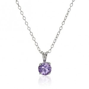 Sterling Silver 7mm Birthstone Pendant Necklace