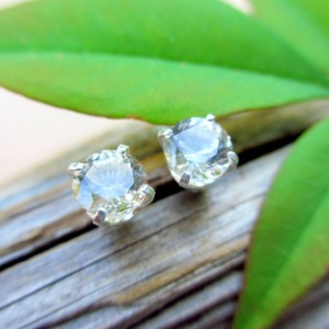 Ghostly Pale Tan Topaz Studs – Genuine Topaz Stud Earrings, Real 14k Gold, Platinum, Or Sterling Silver – 4mm, 5mm, 6mm