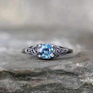 Shop Topaz Jewelry! Blue Topaz Ring – December Birthstone Ring – Antique Style Blue Topaz Ring – Dark Sterling Silver – Blue Gemstone Rings – Filigree Ring | Natural genuine gemstone jewelry in modern, chic, boho, elegant styles. Buy crystal handmade handcrafted artisan art jewelry & accessories. #jewelry #beaded #beadedjewelry #product #gifts #shopping #style #fashion #product