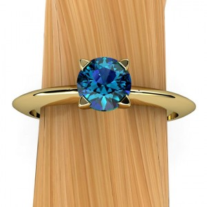 London Blue Topaz Ring In 14k Recycled Gold, Solitaire Prong Setting With Knife Edge Band, Stacking – Free Gift Wrapping