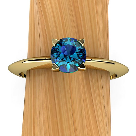 "London Blue Topaz Ring In 14k Recycled Gold, Solitaire Prong Setting With Knife Edge Band, Stacking | ""lyra"""