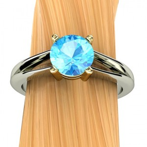 Swiss Blue Topaz Ring In 14k Recycled Gold, Split Shank, 6mm Gem – Free Gift Wrapping
