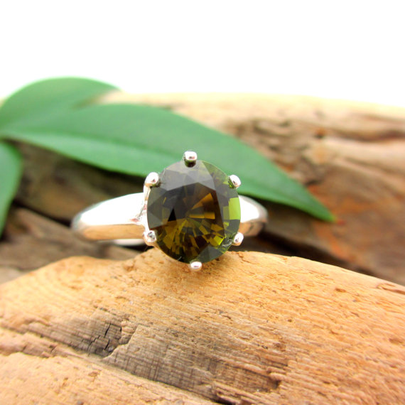 Olive Green Tourmaline Ring In Sterling Silver, Oval Faceted Gemstone
