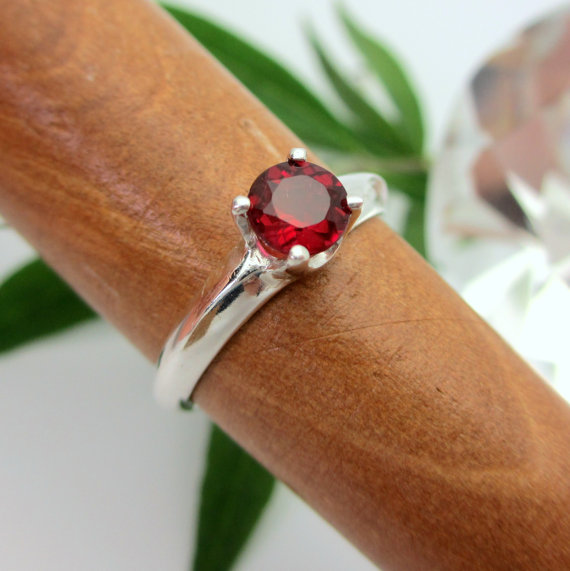 Rubellite Tourmaline Ring In Sterling Silver, Round Faceted Gemstone