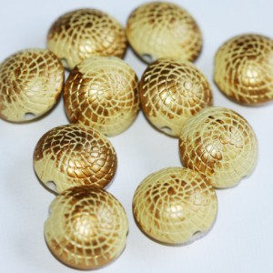 Vintage Acrylic Gold Brush Beads