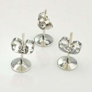 Shop Ear Wires & Posts for Making Earrings! 100pcs Silver-plated Brass 4-6-8mm Flat Pad Surgical Steel Post Earring Finding Package (4mm) | Shop jewelry making and beading supplies, tools & findings for DIY jewelry making and crafts. #jewelrymaking #diyjewelry #jewelrycrafts #jewelrysupplies #beading #affiliate #ad