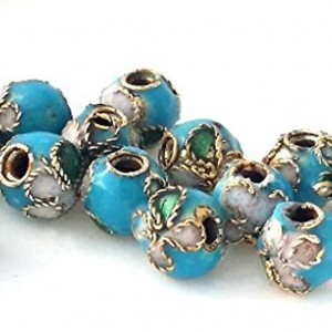 14 Chinese Handmade Metal Enamel Cloisonne Beads- Light Blue- 5mm | Shop jewelry making and beading supplies, tools & findings for DIY jewelry making and crafts. #jewelrymaking #diyjewelry #jewelrycrafts #jewelrysupplies #beading #affiliate #ad