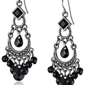 1928 Jewelry Black Crescent Chandelier Earrings | Shop jewelry making and beading supplies, tools & findings for DIY jewelry making and crafts. #jewelrymaking #diyjewelry #jewelrycrafts #jewelrysupplies #beading #affiliate #ad