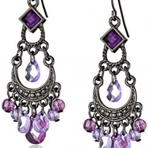 1928 Jewelry Purple Crescent Chandelier Earrings | Shop jewelry making and beading supplies, tools & findings for DIY jewelry making and crafts. #jewelrymaking #diyjewelry #jewelrycrafts #jewelrysupplies #beading #affiliate #ad