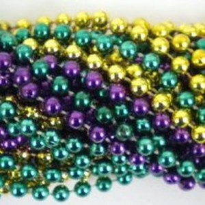 33 inch 07mm Round Metallic Purple Gold and Green Mardi Gras Beads – 6 Dozen (72 necklaces)