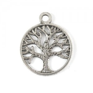 50PCS LIFE OF TREE Design Round Metal Charm Pendents (Antiqued Silver)