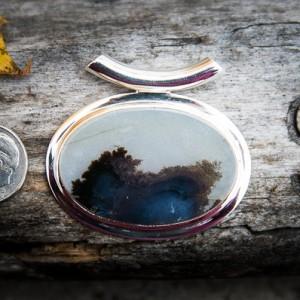 Dendritic Agate Pendant – Landscape Agate – Tube Bale Moss Agate Pendant – Agate Necklace – Dendrtic Agate Necklace – Moss Agate Pendant