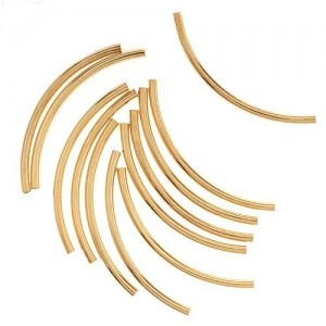 Beadaholique 2mm by 38mm 12-Piece 22K Gold Plated Curved Noodle Tube Beads