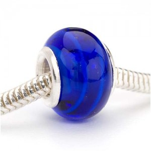 Beadaholique Murano Style Glass Lampwork Pandora Compatible Beads, 14mm, Dark Cobalt Blue Stripe | Shop jewelry making and beading supplies, tools & findings for DIY jewelry making and crafts. #jewelrymaking #diyjewelry #jewelrycrafts #jewelrysupplies #beading #affiliate #ad
