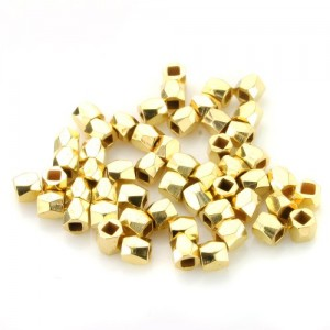 Beadnova Bail Style Gold Plated Faceted Nugget Beads 3-3.5mm for Bracelet