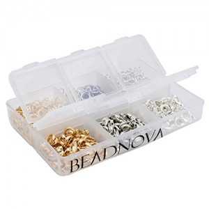 Beadnova Silver Gold Rhodium Plated 90 pcs Lobster Claw Clasps + 600 pcs Open Jump Ring Value Pack Box Set Assortment