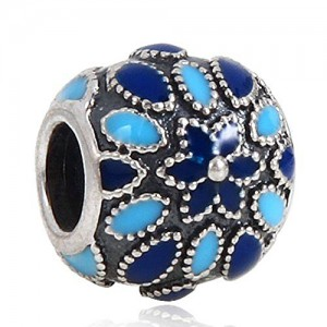 Cathedral with Rose Blue Enamel 925 Sterling Silver Charm Bead for European Bracelet