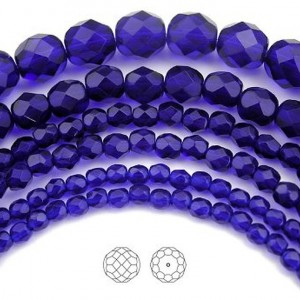 Cobalt Blue, Czech Fire Polished Round Faceted Glass Beads, 16 inch strand | Shop jewelry making and beading supplies, tools & findings for DIY jewelry making and crafts. #jewelrymaking #diyjewelry #jewelrycrafts #jewelrysupplies #beading #affiliate #ad