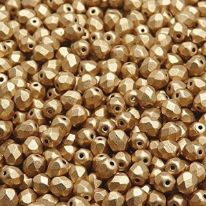 Czech Fire-polished Faceted Glass Beads Round 4mm Aztec Gold