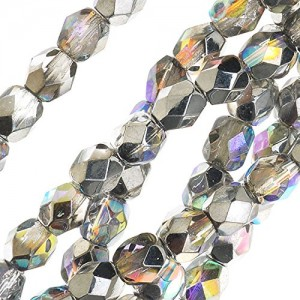 Czech Fire Polished Glass, Faceted Round Beads 4mm, 40 Pieces, Crystal Silver Rainbow | Shop jewelry making and beading supplies, tools & findings for DIY jewelry making and crafts. #jewelrymaking #diyjewelry #jewelrycrafts #jewelrysupplies #beading #affiliate #ad