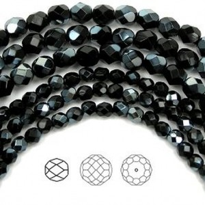 Czech Fire Polished Round Faceted Glass Beads, 16 inch strand