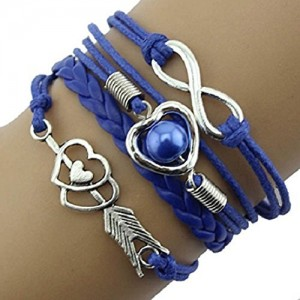 Doinshop Infinity Love Heart Pearl Friendship Antique Leather Charm Bracelet (blue) | Shop jewelry making and beading supplies, tools & findings for DIY jewelry making and crafts. #jewelrymaking #diyjewelry #jewelrycrafts #jewelrysupplies #beading #affiliate #ad