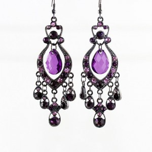 Feelontop Hot Colored Imitation Gemstone Long Chandelier Earrings With Jewelry Pouch Purple