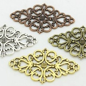 Four Color Hollow Filigree Flower Charm Connectors, Jewelry Making DIY, 24mm x 41mm