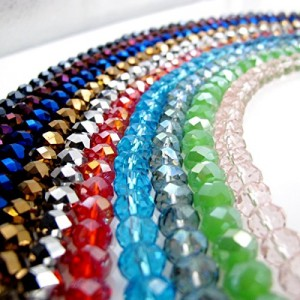 Glass Crystal Beads Faceted Rondelle Shape
