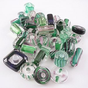 Hand Made Furnace Cane Glass Beads Green Assortment