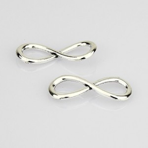Infinity Charm Pendant Connector Link Silver Tone (20 Pcs)