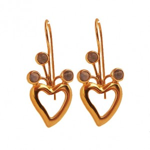 Gold Vermeil Heart-shaped Earrings, Gold Vermeil Earrings With White Jade Stones