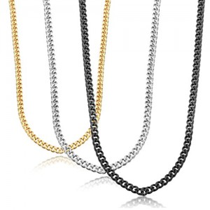 Jstyle Stainless Steel Link Curb Chain Necklace for Men Women 3 Pcs 3.5mm | Shop jewelry making and beading supplies, tools & findings for DIY jewelry making and crafts. #jewelrymaking #diyjewelry #jewelrycrafts #jewelrysupplies #beading #affiliate #ad