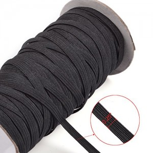 KLOUD City®Black 70-Yards Length 1/4″ Width Braided Elastic Cord/Elastic Band/Elastic Rope/Bungee/Black Heavy Stretch Knit Elastic Spool