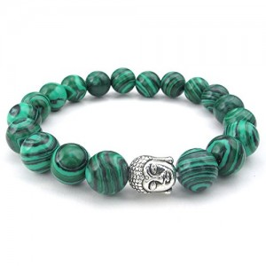 KONOV Natural Energy Stone Beads Gemstone Malachite Mens Womens Bracelet, 10mm Buddha Mala, Green | Shop jewelry making and beading supplies, tools & findings for DIY jewelry making and crafts. #jewelrymaking #diyjewelry #jewelrycrafts #jewelrysupplies #beading #affiliate #ad