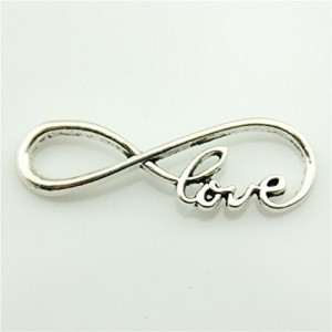 Love Infinity Charms Antique Silver Tone Pendant B10781 | Shop jewelry making and beading supplies, tools & findings for DIY jewelry making and crafts. #jewelrymaking #diyjewelry #jewelrycrafts #jewelrysupplies #beading #affiliate #ad