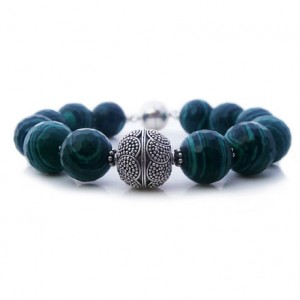 Green Malachite And Sterling Silver Bali Bead Bracelet, Green Malachite And 925 Sterling Silver Granulation Bead Bracelet