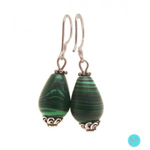 Green Malachite Teardrop Bead 925 Sterling Silver Dangle Earrings
