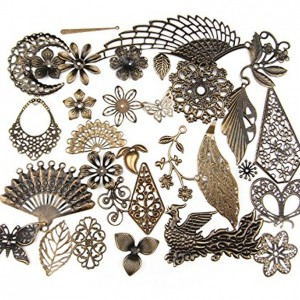Mixed Antique Bronze Filigree Charm Pendant Jewelry Findings: 50g/55pcs | Shop jewelry making and beading supplies, tools & findings for DIY jewelry making and crafts. #jewelrymaking #diyjewelry #jewelrycrafts #jewelrysupplies #beading #affiliate #ad