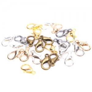 Mixed Silvery Golden Bronze Jewelry Lobster Clasps Findings 12mm -150pcs