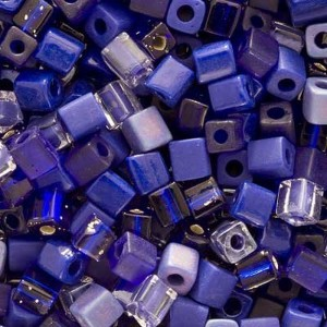 Miyuki 4mm Glass Cube Bead Mix Cobalt Medley Blue 10 Grams | Shop jewelry making and beading supplies, tools & findings for DIY jewelry making and crafts. #jewelrymaking #diyjewelry #jewelrycrafts #jewelrysupplies #beading #affiliate #ad
