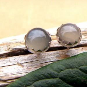 Gray Moonstone Earrings: Sterling Silver Gemstone Stud Earrings, 6mm – Free Gift Wrapping