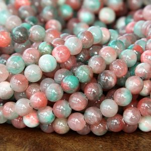 Mountain Jade Beads, Teal And Pink Mix, 6mm Round – 15 Inch Strand – Emcj-520-6