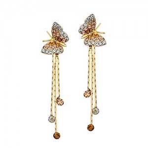 Neoglory Jewelry 14k Gold Plated Rhinestone Yellow Butterfly Drop Dangle Earring 1.9inch | Shop jewelry making and beading supplies, tools & findings for DIY jewelry making and crafts. #jewelrymaking #diyjewelry #jewelrycrafts #jewelrysupplies #beading #affiliate #ad