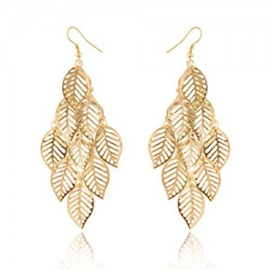 One Pair Unique Bohemia Nine Leaves Long Fashion Dangle Earrings For Girls Gold | Shop jewelry making and beading supplies, tools & findings for DIY jewelry making and crafts. #jewelrymaking #diyjewelry #jewelrycrafts #jewelrysupplies #beading #affiliate #ad