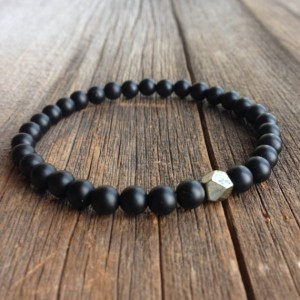Men's Beaded Bracelet – 6mm Matte Onyx And Single Faceted Pyrite Stretch Bracelet