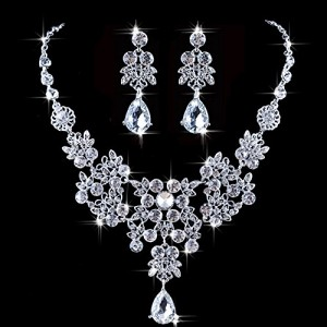 Outop Silver Red Alloy Rhinestone Earrings Crystal Pendant Necklace Bridal Jewelry Set (White)